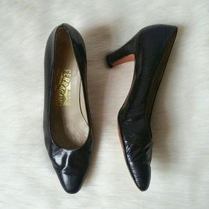 Ferragamo Snakeskin Kitten Heel Black Heels